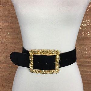 Vintage Black Suede Belt with Gold Buckle